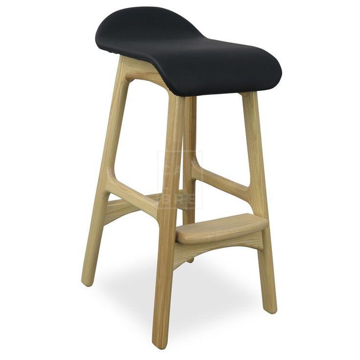 Calibre - Bar Stool - Erik Buch Replica - Black Seat - Natural