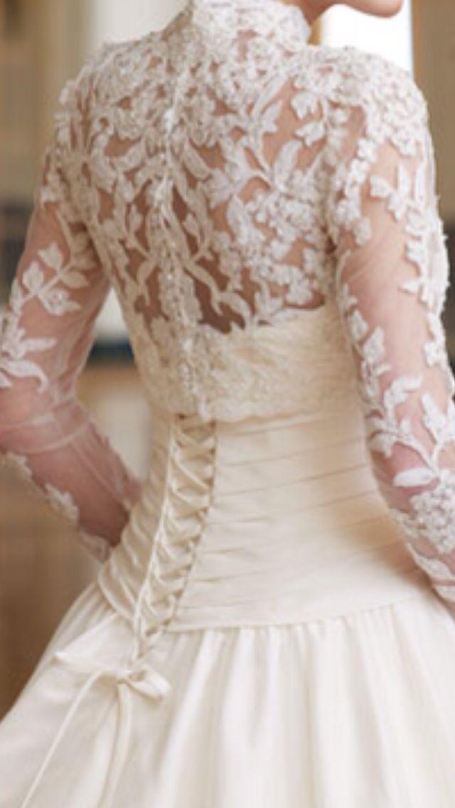 Corset wedding dress with lace sleeves wedding dresses for Lace sleeve corset wedding dress