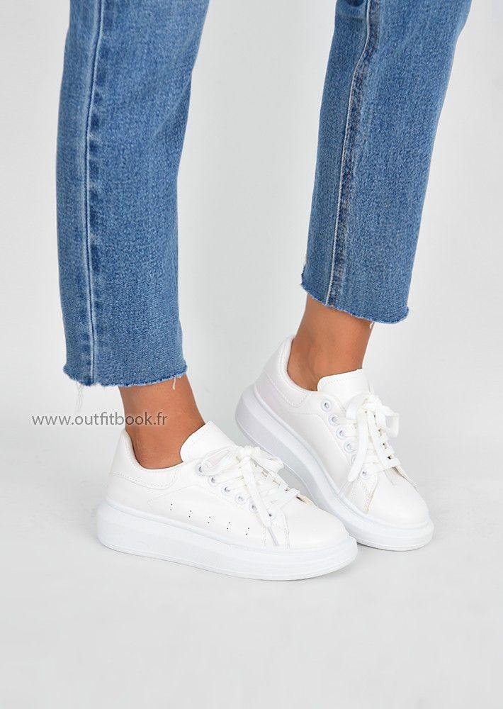 Soldes > sneakers plateforme blanche > en stock