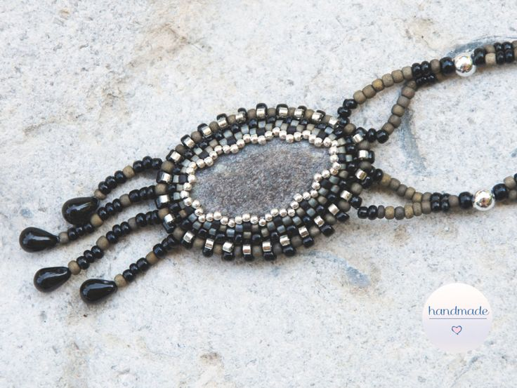 Beaded Stone Necklace, beadembroidery necklace with pebble stone, seed beads, granite necklace, statement necklace, boho style by BeadItUpJewels on Etsy
