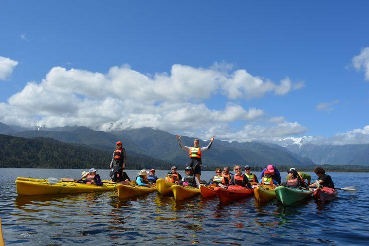 Kayaking on Lake Mapourika near Franz Josef on the west coast.