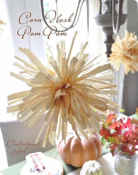 corn husk pom poms plus hundreds of fall craft links