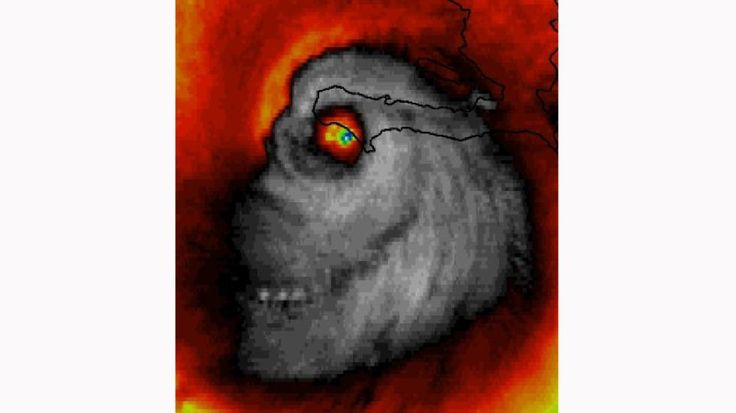 Eerie Face Spotted on Satellite Image as Hurricane Matthew Makes Landfall in Haiti | The Weather Channel