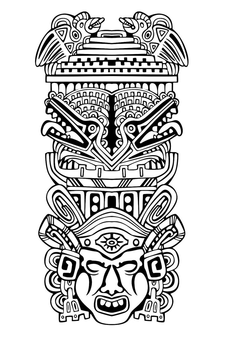 Free coloring page coloring-adult-totem-inspiration-inca-mayan-aztec-4. Totem inspired by Aztecs, Mayans and Incas - 4 (Source : rocich / 123RF)