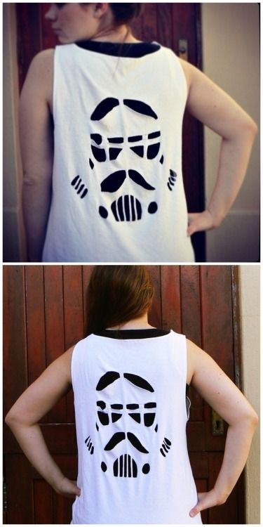 DIY Star Wars Stormtrooper Cut Out Tee Shirt from Cut Out + Keep here.For pages more of DIY tee shirts go here:truebluemeandyou.tumblr.com/tagged/tee-shirt