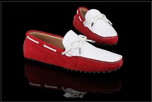 Tods Suede Red White Boat Shoes