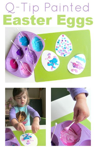 Q-tip Painted Easter Eggs: Easy Easter Craft for Toddlers #crafts #Easter #toddlers #kids