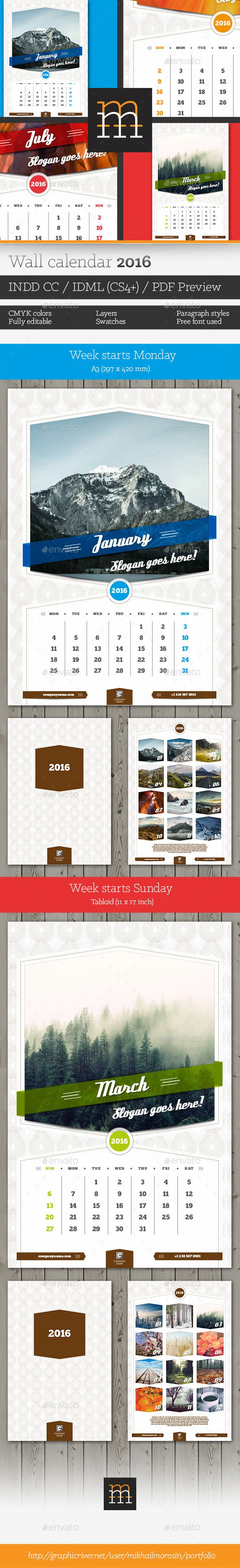 Wall Calendar 2016 Layered InDesign files .INDD CC Template #design Download: http://graphicriver.net/item/wall-calendar-2016/12820300?ref=ksioks