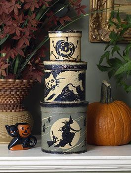 Halloween Shop: The Witching Hour Stacking Oval Halloween Boxes on Blumchen.com
