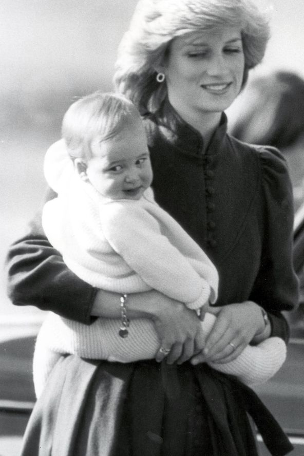 March 8, 1983: Princess Diana with Prince William at Aberdeen Airport returning to London from Balmoral.