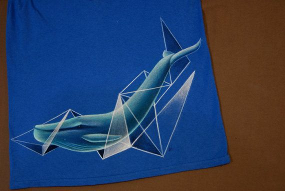 whale abstract  geometry hand-painted t-shirt by NikoxiL on Etsy
