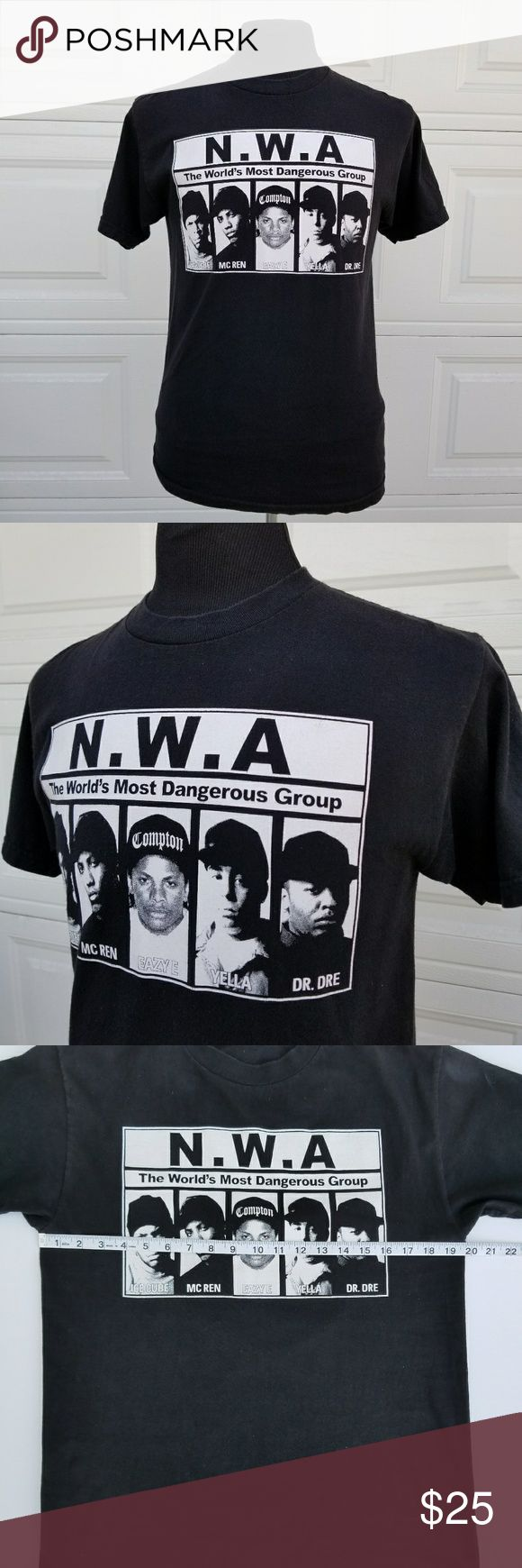 NWA Eazy E, Ice Cube, Dr Dre graphic T-shirt Small You're purchasing a NWA Mens T-shirt with Eazy E, Ice Cube, Dr Dre, MC Ren and Yella aka The Worlds Most Dangerous Group. Pre-Owned in good condition. Size: Size tag is missing but fits like a small or a smaller sized Medium.  Measurements: See pics for measurements and best fit. Shirts Tees - Short Sleeve