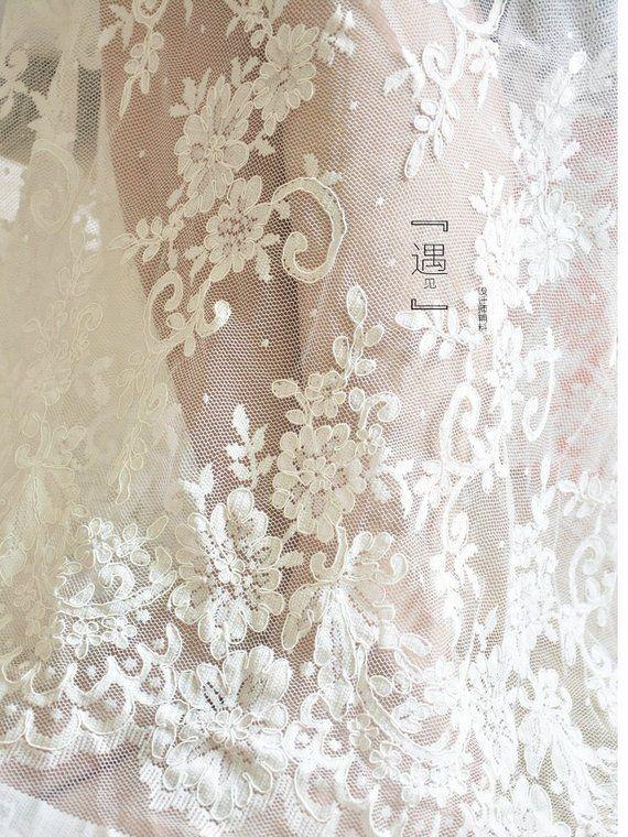 4ee070f7764ec 1 Yard Beautiful wedding Alencon Lace Fabric in Off White, Retro ...
