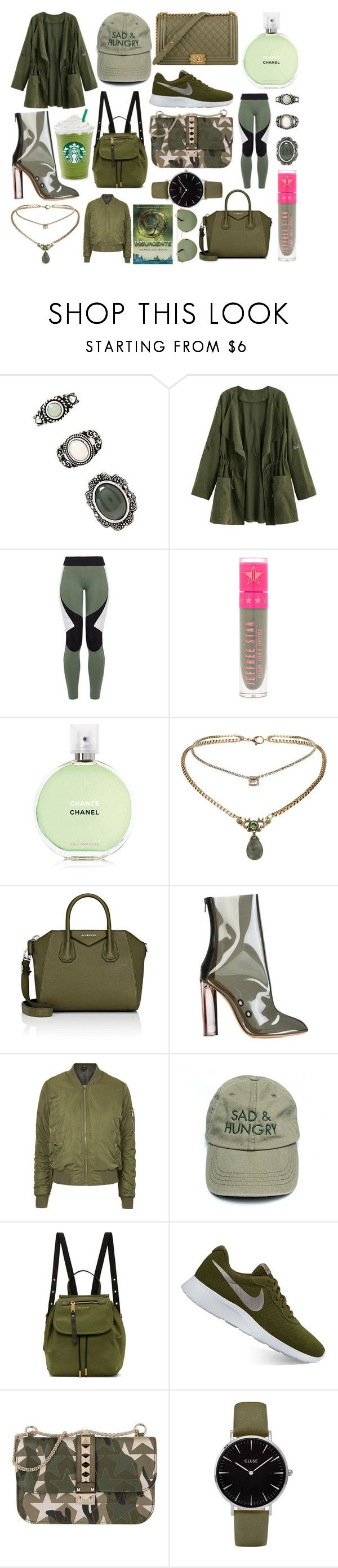 """""""Hunter Green."""" by plaraa on Polyvore featuring moda, Forever 21, Charli Cohen, Jeffree Star, Chanel, Topshop, Givenchy, adidas Originals, Marc Jacobs y NIKE"""