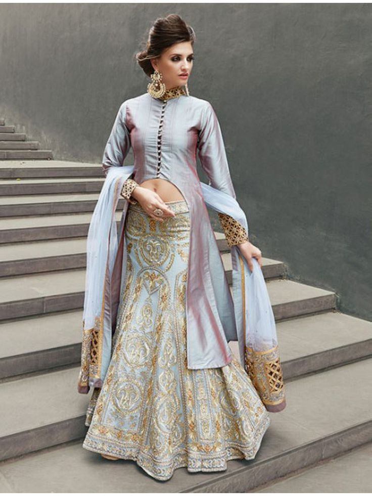 Graceful Ice Blue Designer Wedding Lehenga Choli