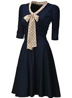 Womens 3/4 Sleeve Classy Casual Belted Vintage Retro Evening Swing Dress Sale: $37.99