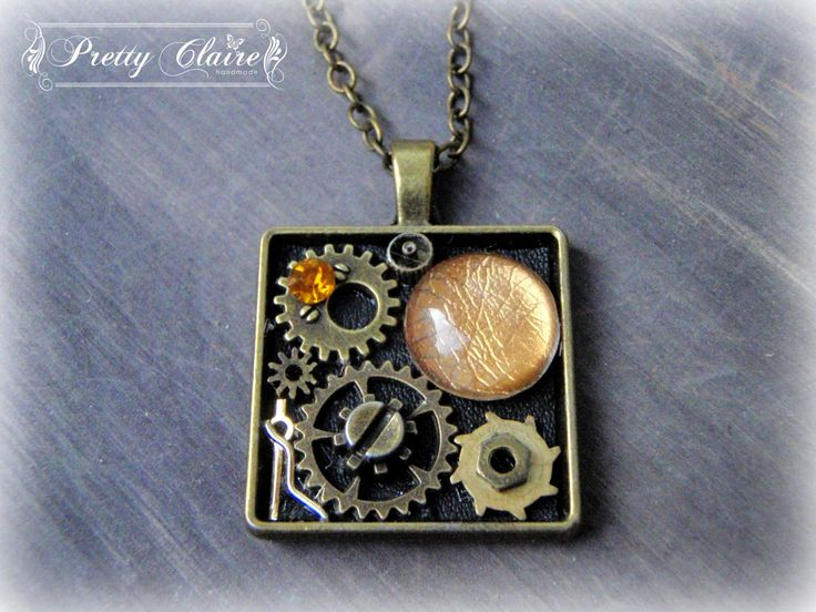 Steampunk necklace, steampunk handmade pendant, square pendant, unique gift, unique jewelry, special necklace by PrettyClaire on Etsy