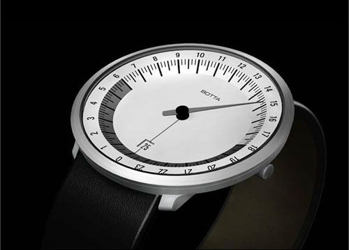 The Botta UNO 24 one-hand watch presents the entire day at a glance.