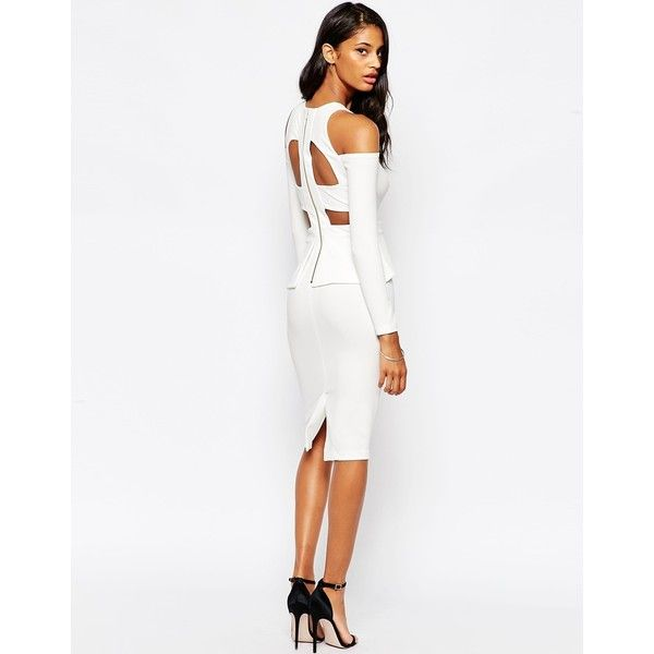 ASOS Crepe Cold Shoulder Cage Back Bodycon Dress ($39) ❤ liked on Polyvore featuring dresses, white, crepe dress, white dress, cold shoulder dress, asos and body conscious dress
