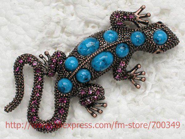 12 piece/lot фиолетовый кристалл горный хрусталь покрытие античная медь искусственного бирюза геккон булавка брошь C616 D3