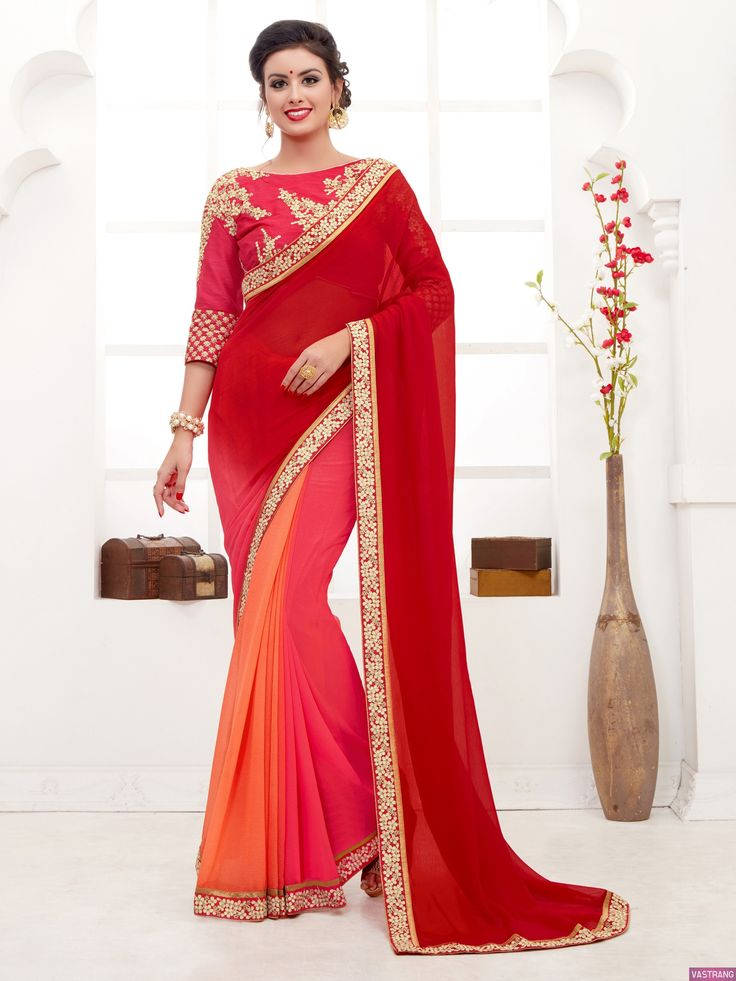 Awesome Red Color Embroidered Golden Zari Work Saree