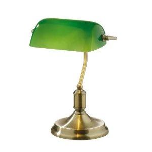 Italienische Design Bankerleuchte Bankerlampe Grün Messing Bank  Tischleuchte Mit Schalter E27 Lawyer Brunito: Amazon.