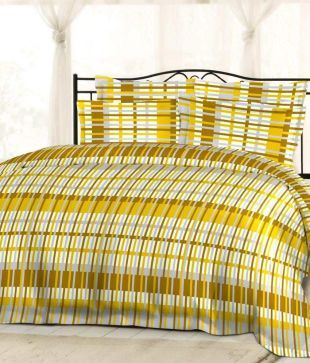 Bombay Dyeing Gardenia Yellow And Beige Contemporary Cotton Double Bedsheet With 2 Pillow Covers - Buy Bombay Dyeing Gardenia Yellow And Beige Contemporary Cotton Double Bedsheet With 2 Pillow Covers Online at Low Price - Snapdeal