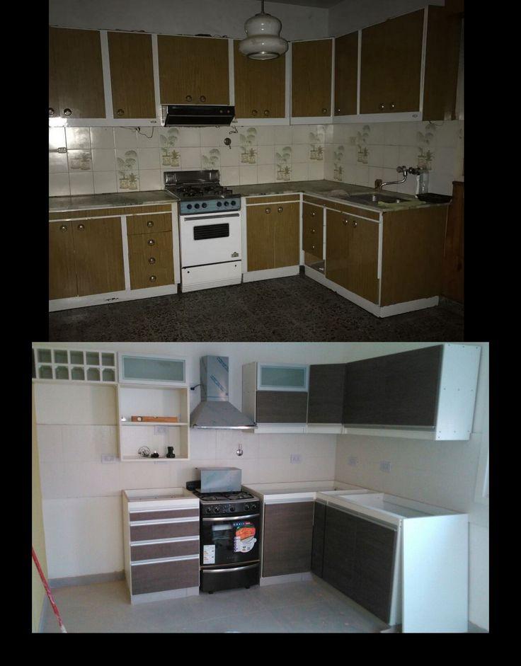 Remodelacion de cocina- Antes y Despues- Bajo Mesada y Alacena