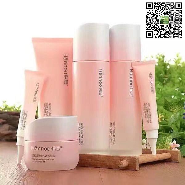 Hanhoo Rose Pomegranate Moisture Set Skin Care Moisturizer Shampoo Bottle