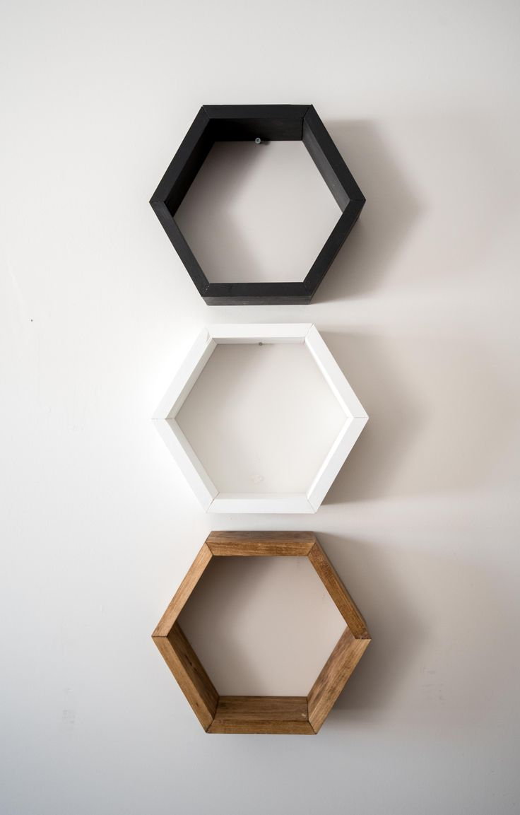 Hexagon shelf set from Timber Grove Studios on Etsy - order your choice of colours!
