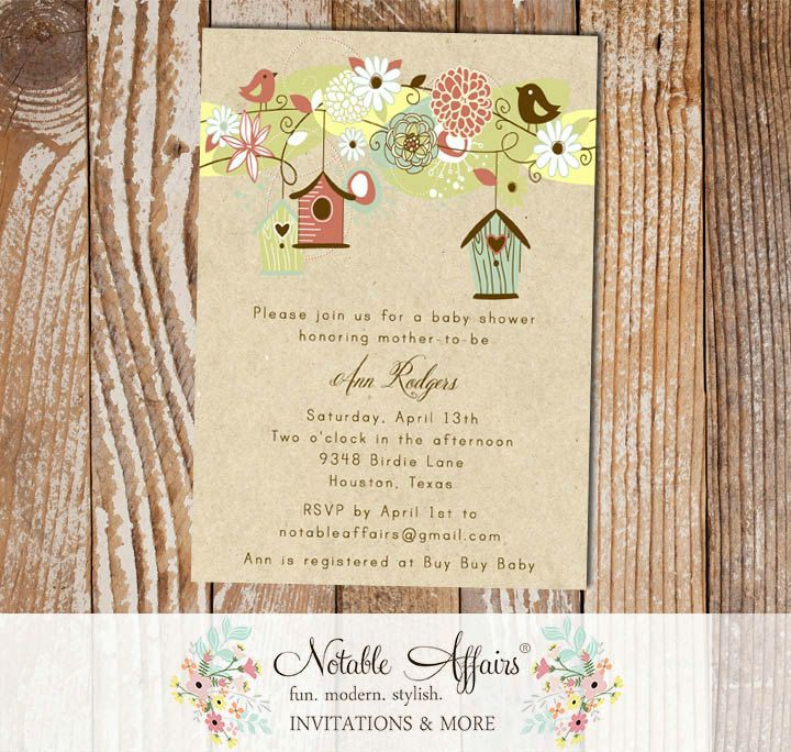 bridal shower invitation quote ideas%0A Floral Birds and Birdcages Birdhouse on Kraft Baby Bridal Shower  Housewarming Invitation  choose your own wording  no color changes by  NotableAffairs