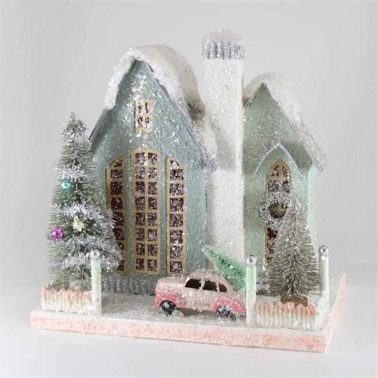 Elegant Blue House with Car | Paper Christmas Houses | Putz