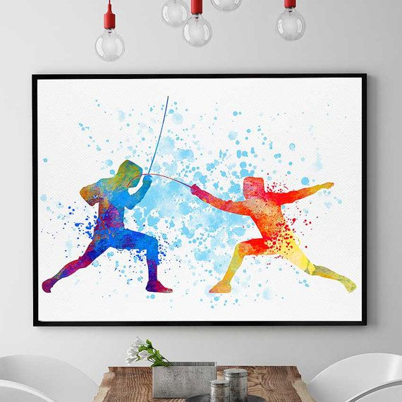 Fencing Foil Print Girl Sword Girls Sports Watercolor by PointDot