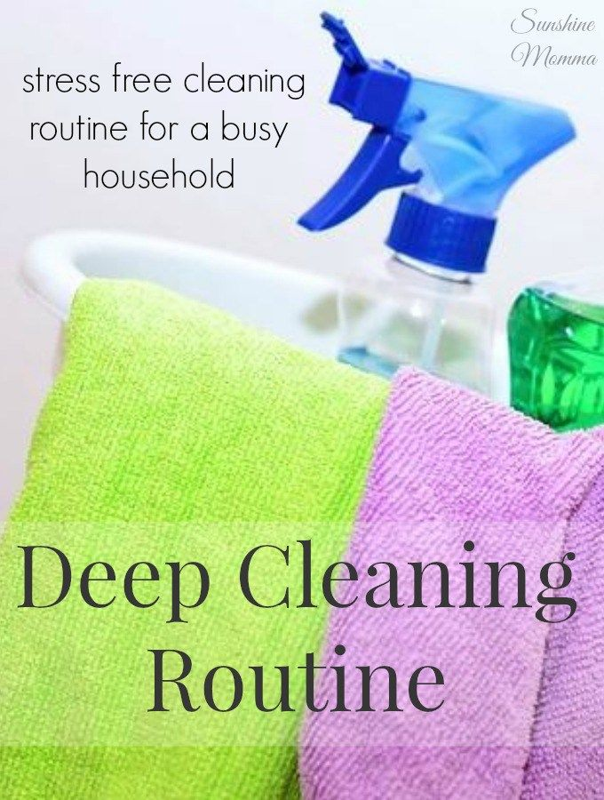 Stress Free Deep Cleaning Routine. I do this twice a year and always love the results! So simple to work through without any added stress. - Sunshine Momma