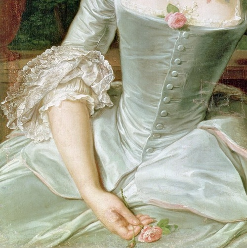 Dress Detail from Jeanne Antoinette Poisson (detail), by François Hubert Drouais…