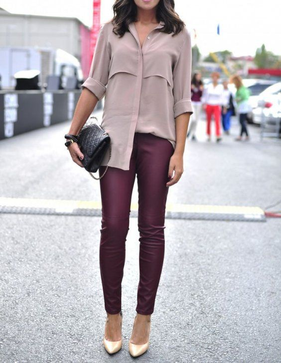 These red wine wax coated leggings are paired with a silk shirt and cream heels for a stunning look