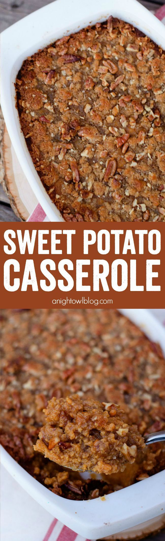 The BEST Sweet Potato Casserole I've ever had! Easy and delicious dish with a sweet and crunchy topping!: