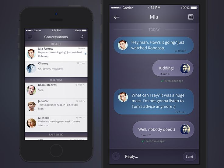 Conversations / Chat UI by Ehsan Rahimi #dribbble #ui #messaging