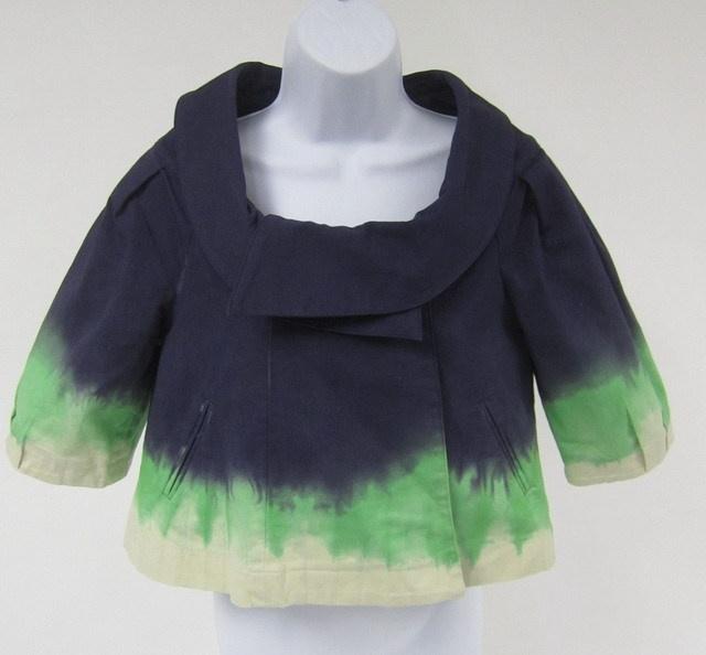 LA ROK Blue Green White Tie Dye Short Sleeve Scoop Neck Swing Jacket Sz XS at www.ShopLindasStuff.com
