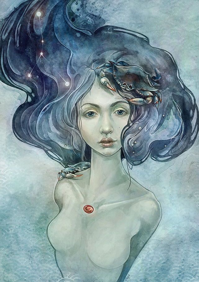 Portrait zodiac sign cancer.  Digital painting  Made by Sylvia strijk