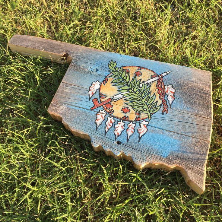 Wood Oklahoma State Flag | Oklahoma Art | State Art | Wood State Shape Cutouts | Salvaged Wood Art | Oklahoma State Flag Painting