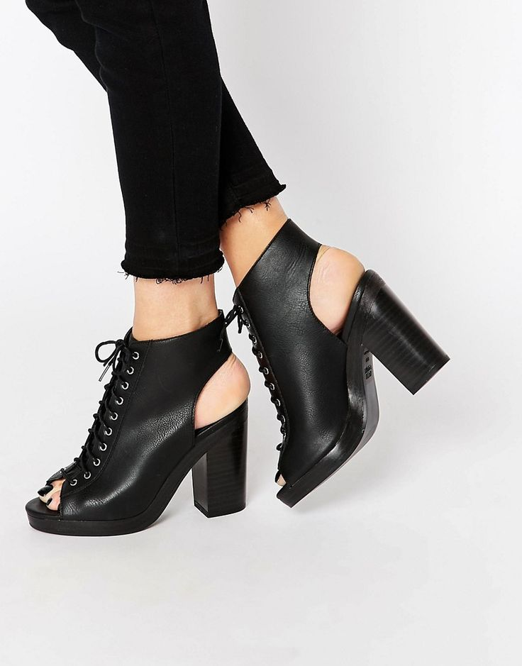 Image 1 ofNew Look Lace Up Heeled Boot