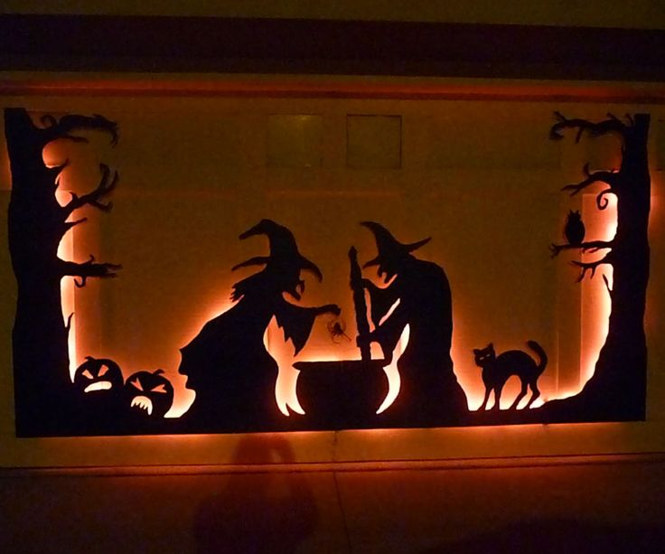 halloween garage door silhouette - Halloween Window Decor