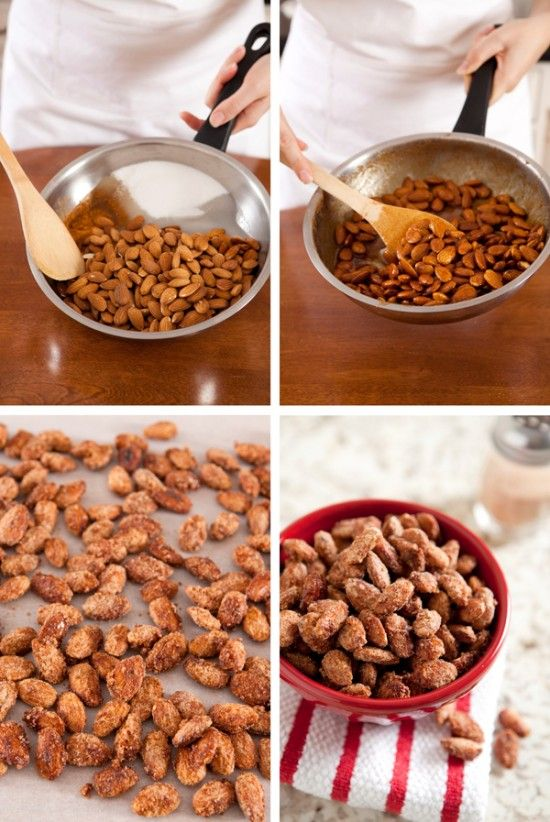 Cute Gift: Homemade Cinnamon Almonds 1 c. Sugar, 3 C. Almonds, 1/2 T. Cinnamon, 1/4 C. Water - heat in skillet and then cool on wax paper.