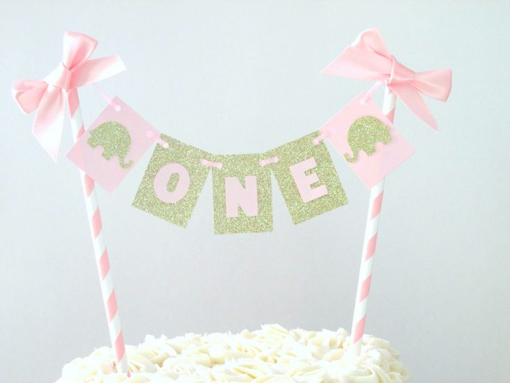 Pink and Gold Elephant Birthday Cake Topper Pink and Gold Smash Cake Topper First Birthday Bunting First Birthday Topper ONE Decorations by SignsationalSayings on Etsy https://www.etsy.com/listing/261237387/pink-and-gold-elephant-birthday-cake