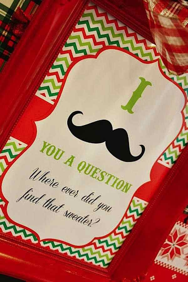 """Ugly sweater mustache Christmas party  Needing ideas for a FUN Ugly Christmas Sweater Party check out """"The How to Party In An Ugly Christmas Sweater"""" at Amazon.com"""