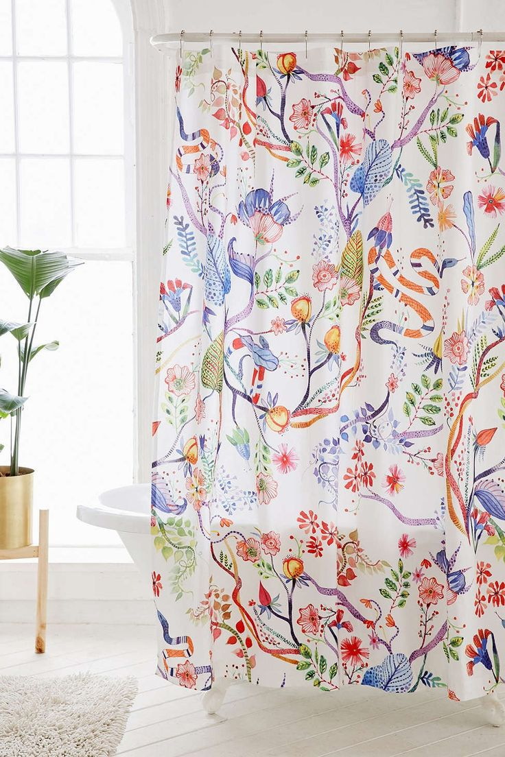 Colorful shower curtain - Whimsical Floral Shower Curtain
