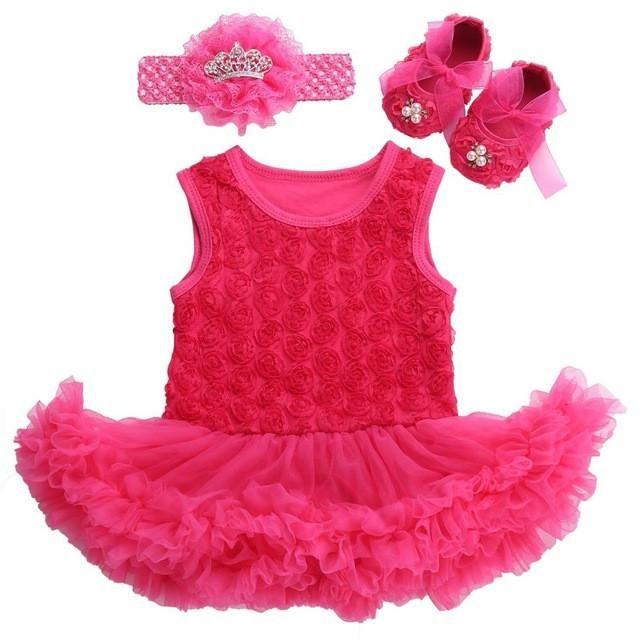 Baby Girl Dress Shoes Baby Headband Set,Vestido Ropa Bebe Menina,Newborn Baby Girl Clothes Set,infant toddler Girl clothing 2017 - Best price in 10minus