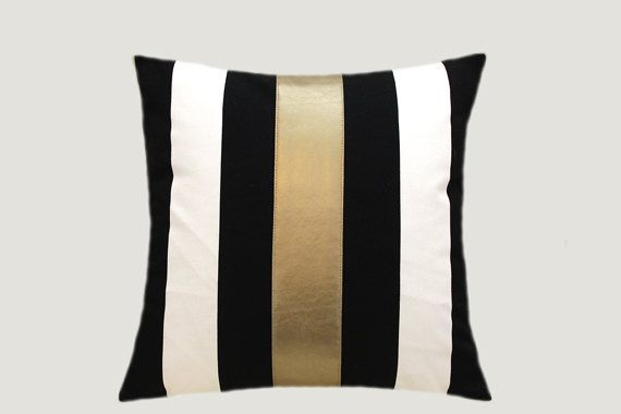 Black White And Gold Throw Pillows : Decorative Pillows, Cotton Black-White Throw pillow case with gold faux leather accent, 16