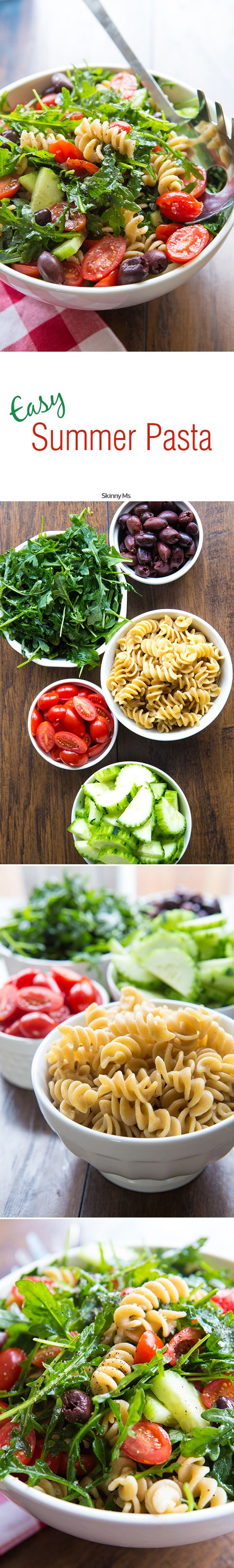 Easy Pasta Salad with Cucumbers & Tomatoes - delish! #easypastasalad #pastasalad #summerrecipes
